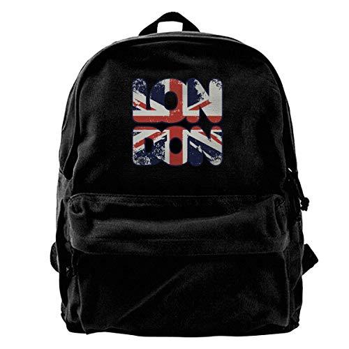 huatongxin I Love London UK Flag Unisex Fshion Canvas Backpack Stylish Book Bag Travel Laptop Backpack