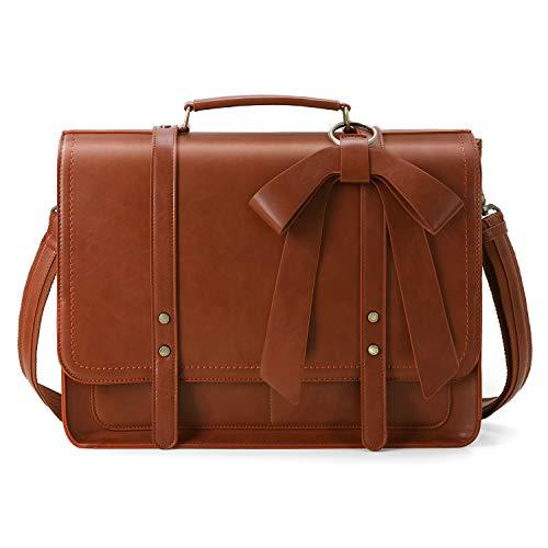ECOSUSI Aktentasche Damen Laptoptasche 15,6 Zoll Vintage Umhängetasche mit abnehmbarer Schleife Schultasche Braun