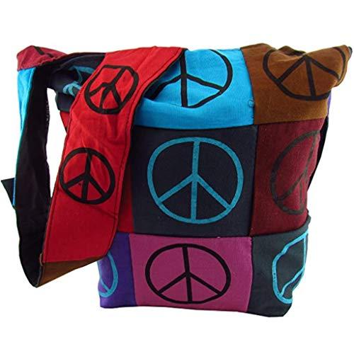 Yogi Tasche Schultertasche Freizeitttasche im Indi Style beidseitig mit Peace Druck in T-804