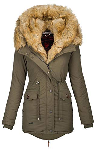 Navahoo 2in1 Damen Winter Jacke Parka Mantel Winterjacke warm Fell B365 [B365-Sweety-Grün-Gr.S]