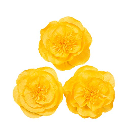 Letjolt Paper Flower Decorations for Wall Golden Crepe Paper Flower for Wall Yellow Paper Flower for Wedding Bouquets Centerpieces Arrangements Party Baby Shower Decorations Nursery Wall Decor(Set 3)