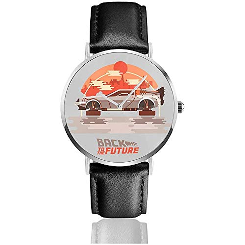 Unisex Zurück in die Zukunft Delorean Flying City Uhren Quarzlederuhr mit schwarzem Lederband