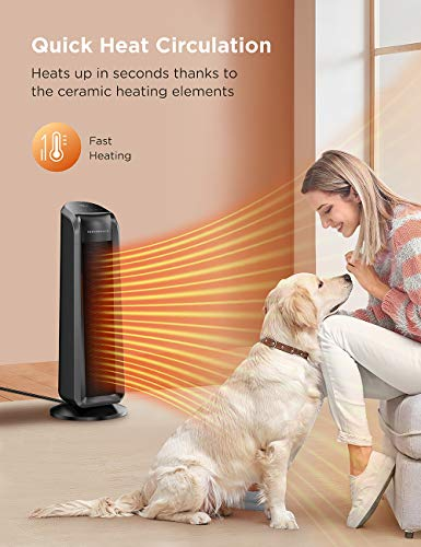 TaoTronics Space Heater, 1500W Fast Quiet Heating Ceramic Tower Electric Heater Oscillating Portable Heater for Office/Bedroom/Living Room,Remote Control Programmable Thermostat ECO Mode 12H Timer LED