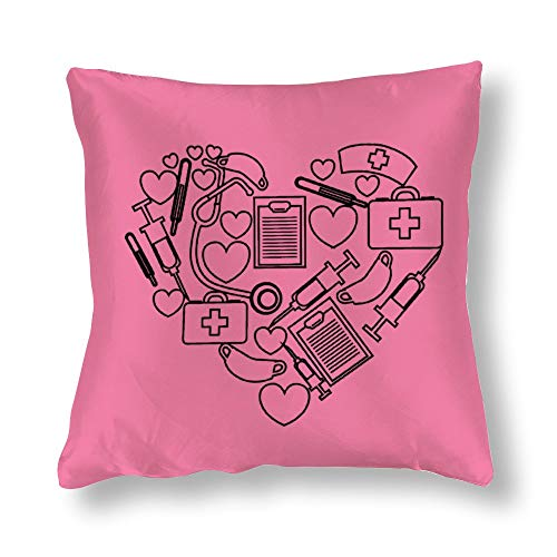Pink Satin Pillowcase Square A Heart Made Out of Medical Supplies Pillowcases, Pillowcase for Hair and Skin, Pillows for Sleeping, Throw Pillow Covers, Cushion, The Best Gift of Birthday.