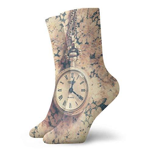 Bert-Collins Reloj de pulsera unisex con cuello redondo y calcetines sobre pantorrilla Medias de confort para viajes deportivos