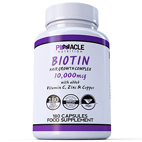 Biotin Complex 10,000mcg - 180 Capsules with Copper, Zinc and Vitamin C - Supports Normal Hair Growth and Colour