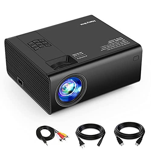 ManyBox Mini proyector, 3500 Lux proyector de vídeo portátil con 45000 Horas de Vida de lámpara LED, Full HD 1080P Compatible, Compatible con TV PS4, HDMI, VGA, TF, AV y USB
