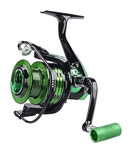 LQJin Reel de Pesca de Hilado 1000-7000 Serie Bobina de Pesca Metal Reel de Espina Intercambiado Mano Izquierda/Derecha (Cantidad Cantidad: 13, Color: Verde)