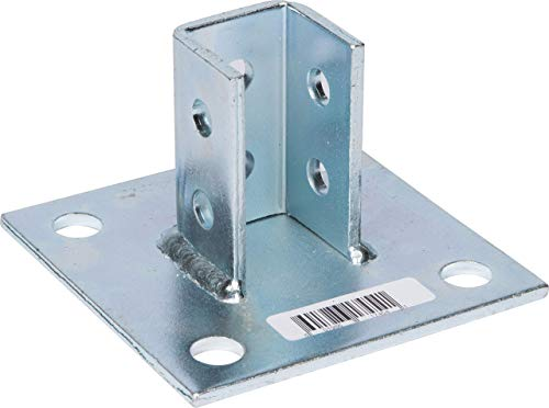 """Morris Products 17454 Post Base Channel 4 Hole Square – for 1-5/8"""" Strut – Side Orientation, Galvanized Steel – 6"""" x 6"""" Base – Secures Strut Assembly to Floors, Pack of 3"""