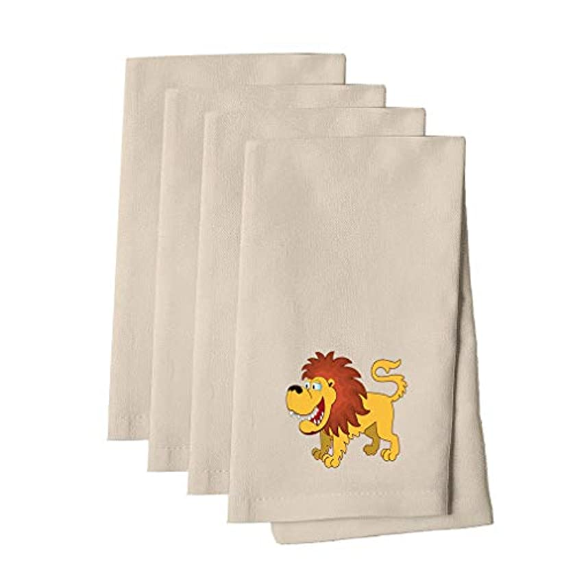 Lion Smiling Cotton Canvas Dinner Napkin, Set of 4 Cloth Napkin Set Natural