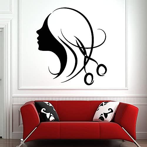 WERWN Pegatina de Pared para salón de Belleza, Tijeras para salón de Belleza, calcomanía de Pared, Mural, Estudio, patrón de Arte de Cara de niña encogida