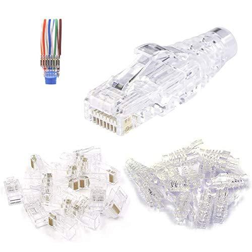 VCE 50 Unidades Conector RJ45 CAT6 CAT5E EZ Pasante Ethernet Modular Plug Incluye 25 Unidades de Funda tranparente