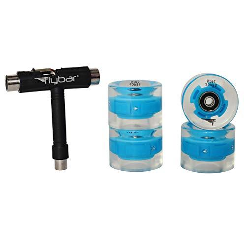 Flybar Skate Accessories 4 Pack LED Wheels Multiple Colors (Blue 4 Pack LED Wheels)
