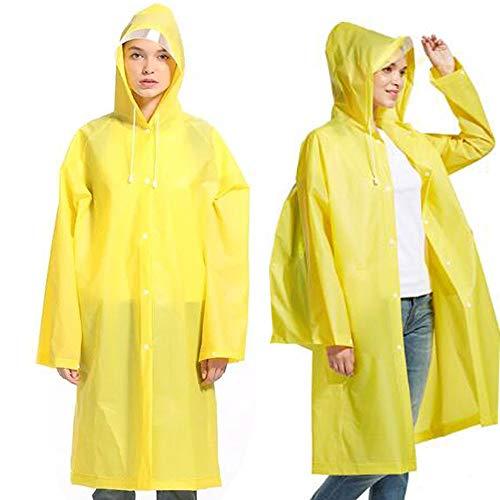 Phego Regenponcho,Regenjacke Wasserdicht Atmungsaktiv Regencape tragbarer Regenmantel mit Lange Regenschutz (Gelb, XL)