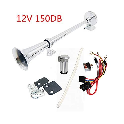 Kit YIYDA de bocina de aire de repuesto para coches de 12 V 150 db, 45,7cm, cromo y zinc, apto para todo tipo de camiones, coches y trenes de 12 V