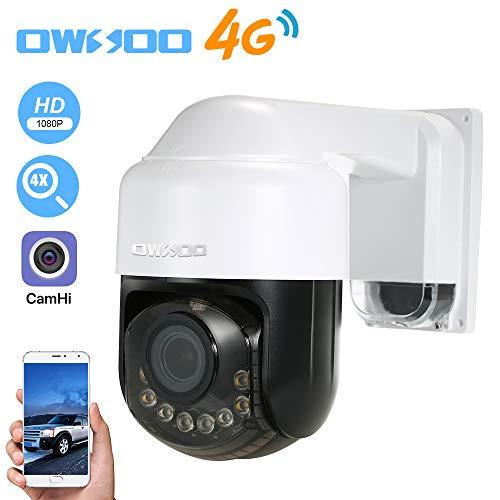 OWSOO 1080P Cámara IP 4G, Lente de Zoom Óptico 2.8-12 mm, Soporta 4G/GSM Network, PTZ, Alarma de Movimiento, Control de Phone, Audio Bidireccional, Vision Nocturna, Ranura para Tarjeta TF, Impermeable