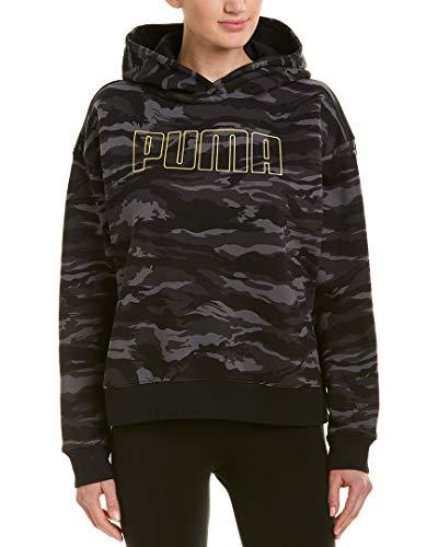 PUMA Camo Cropped Hoodie Cotton Black All Over Print SM