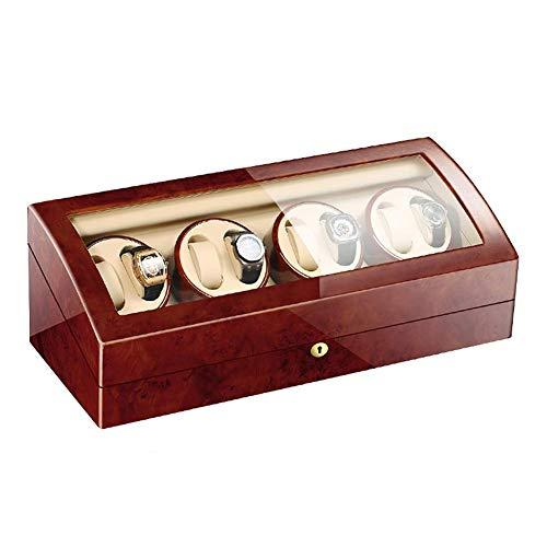 XIUWOUG 8 + 9 movimentatori automatici per orologi, cassa in legno, colore esterno, flessibile, motore silenzioso, 4 modalità di rotazione (colore: B)