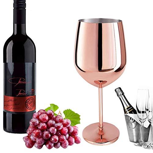D L D Rotweinglas aus Edelstahl mit Metallstiel, bruchsicher, für Weißwein und Cocktails, unzerbrechlich, BPA-frei, Kelche, Saft, Getränke, Champagner, Party, Bargeschirr (Roségold)