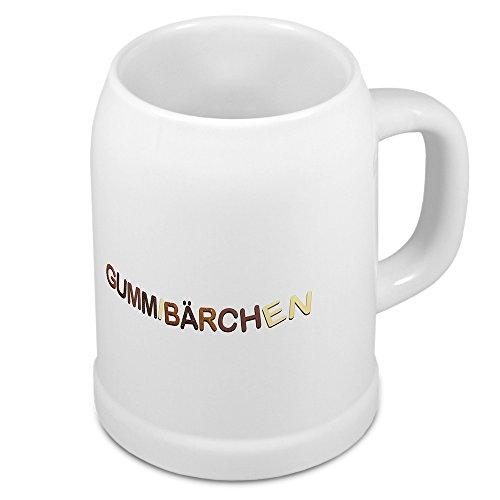 Bierkrug mit Namen Gummibärchen - Motiv Schokoladenbuchstaben - Namenstasse, Becher, Maßkrug, Humpen