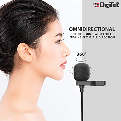 Digitek® Lavalier Microphone DM 02 with Omnidirectional Condenser for Vlogging   Recording   YouTube   Podcasting  Webinar and More. (DM 02) Microphone