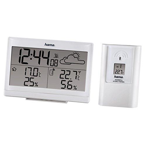 Hama Funk Wetterstation EWS-890 (Funkuhr, Wecker, Thermometer, Frostalarm, Wettervorhersage und Hygrometer, inkl. Außensensor mit 50m Reichweite), weiß