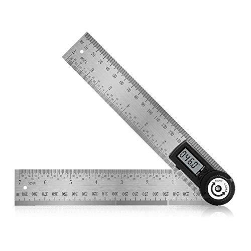 IWILCS Winkelmesser, Winkelmesser digital, Rostfreier Stahl Winkelmesser, LCD Digitaler Anzeige Schlosserwinkel mit Anschlag, 400 MM, Messbereich 000.0°-999.9°