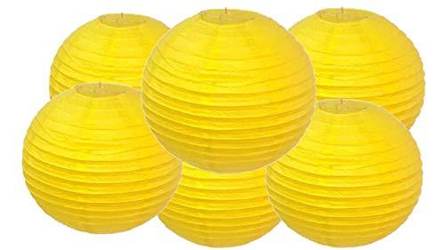 Matissa Lot de 6 lanternes en papier Jaune 30 cm