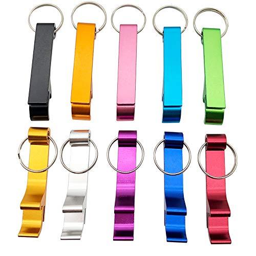 10 Stück Aluminium Bier-Flaschenöffner Schlüsselanhänger Classic Mini Flaschenöffner Schlüssel Sammler EDC Pocket Schlüsselanhänger Lustiges Geschenk