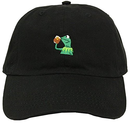 Kermit The Frog Sipping Tea Adjustable Strapback Cap Black