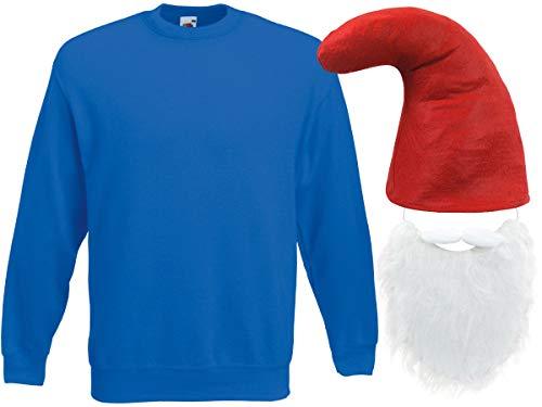 Alsino Blaues Zwergenkostüm Zwerg Verkleidung (Kv-138) Blauer Pullover rote Zwergenmütze und Bart, Größe:S