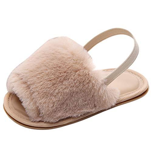 WEXCV Baby Unisex Mädchen Jungen Fluff Hausschuhe Sommer Süß Einzelne Anti-Rutsch Kleinkind-Schuhe Lauflernschuhe Casual Weiche Sohle für 0-37 Monate