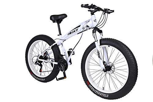 Ibiky Fat Tire Mountain Bike, 26-Inch Wheels, Multiple Colors 4.0 inch Fat Tire Snow Bike with Powerful Disc Brakes (White)