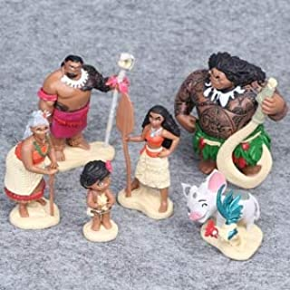 LAJKS 6Pcs/Set 6-12Cm Moana Princess Maui Chief Tui Tala Heihei Action Figure Brinquedo Toys for Children New Year Gift Boy Must Haves Baby Boy Gifts My Favourite 5T Superhero Girls UNbox Game