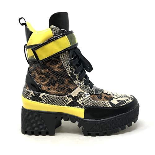 Angkorly - Damen Schuhe Stiefeletten Sneaker - Combat Boots - Plateauschuhe - Rock - Tierdruck Animal-Print - Pythonschlangenhauteffekt - Leopard Blockabsatz 5.5 cm - Leopard CT-9 T 37