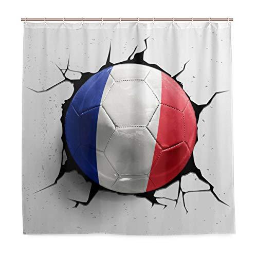 WowPrint Duschvorhang Frankreich 3D Fußball Sport wasserdichte Badvorhänge für Badezimmer Dekorative 182 x 182 cm mit 12 Haken