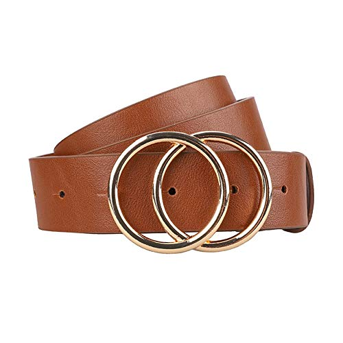 Earnda Women's Leather Belt Fashion Soft Faux Leather Waist Belts For Jeans Dress Brown Small