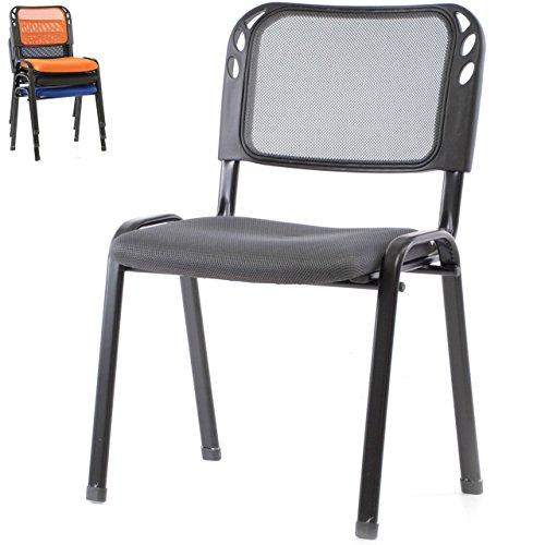 Besucherstuhl Bürostuhl Konferenzstuhl Sitzfläche orange, blau, grau, schwarz gepolstert Metallrahmen schwarz stapelbar 52,5 x 45 x 80 cm Stapelstuhl Wartezimmerstuhl Gästestuhl Meetingraum Stuhl (grau)