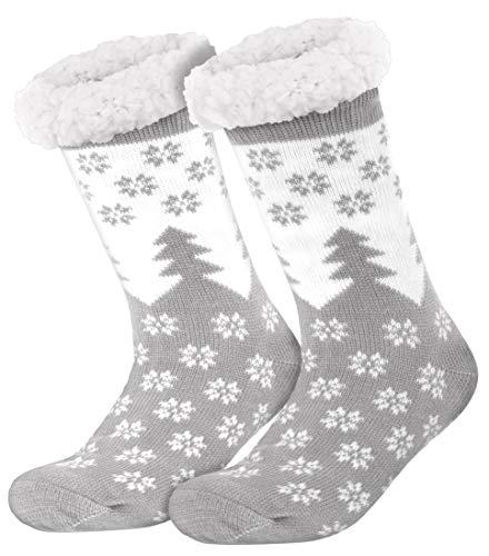 style3 Compagno warme Kuschelsocken mit ABS Anti Rutsch Sohle Wintersocken Herren Damen Socken 1 Paar Einheitsgröße, Farbe:Tannen Grau