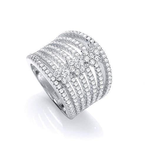 Wide Gemstone Cocktail Ring Solid Silver Statement 925 Hallmarked / Size: R
