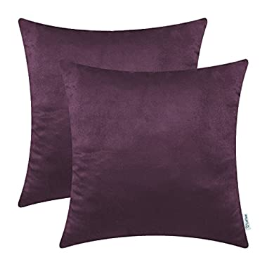 Pack of 2 CaliTime Cozy Throw Pillow Covers Cases for Couch Bed Sofa, Super Soft Faux Suede Solid Color Both Sides, 20 X 20 Inches, Deep Purple