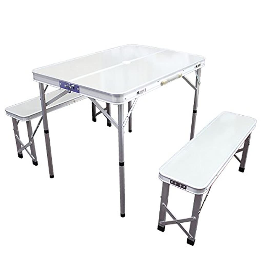 お風呂資料動2WAY レジャーテーブル アウトドアテーブル 折りたたみ ベンチセット パラソル穴付き