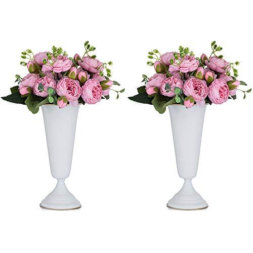 2 Piezas Florero de Trompeta de Metal con Flores para Centros Mesa de Boda para Decoración Banquetes Boda, Arreglos de Flores Artificiales 26.7cm Altura para la Ceremonia de Aniversario, Blanco