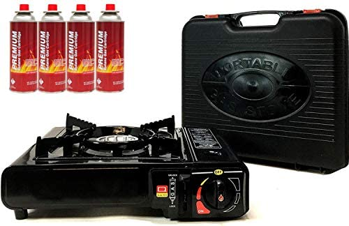 Portable Butane Gas Stove 4 Pack Butane Canister Complete Set with Carrying Case Full Stainless product image