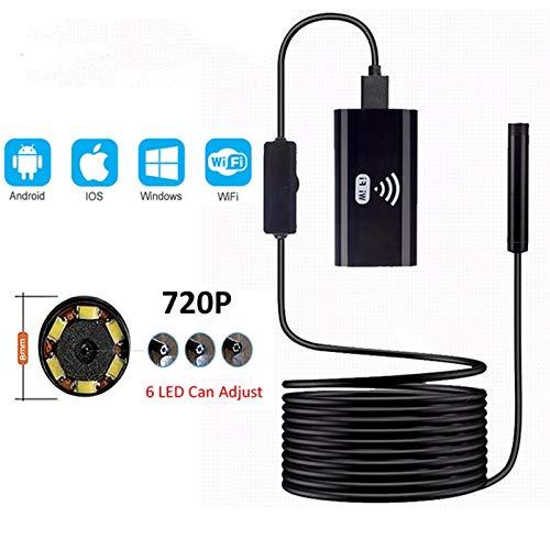 Endoscopio WIFI endoscopio cámara pequeña impermeable suave del USB cable cámara de inspección de 8 mm 1M endoscopio endoscopio endoscopio for los iPhones para detector de tubería de alcantarillado,