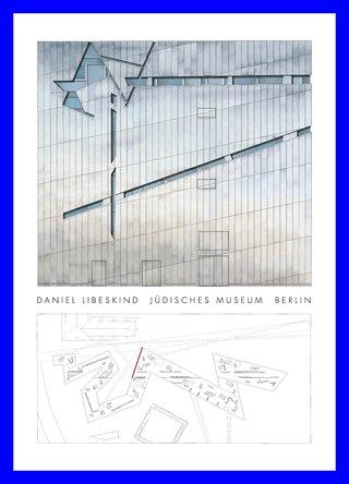 Germanposters Daniel Libeskind Jüdisches Museum Berlin Poster Kunstdruck Bild im Alu Rahmen in blau 106x76cm