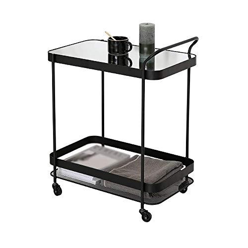 B-K Bodenregal, Schmiedeeiserne Mode Einfache und Flexible Spiegel Dekorative Lagerung Bodenregal, 60X37X76Cm Aufbewahrungswagen, Schwarz