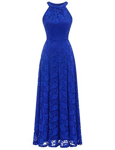 MuaDress 6012 Damen Abendkleider Lang Ballkleider Festliche Kleider für Hochzeit Maxi Spitzenkleid Royalblau 2XL
