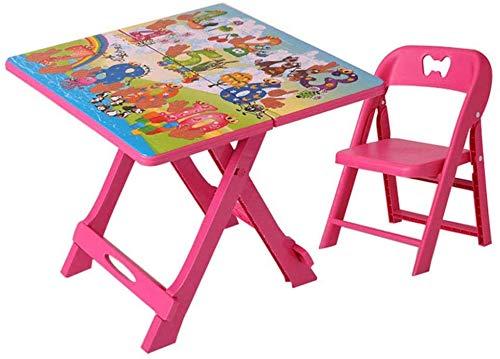 Mesas y sillas Los niños Plegables mesas y sillas, Niños Actividades portátil de plástico de Mesa, Regalos for niños y niñas, al Aire Libre, jardín, Mesa de jardín/Rojo / 1table 1Chair