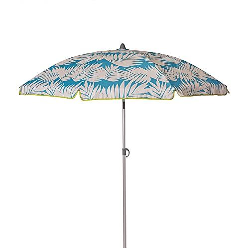 Ezpeleta Sombrilla de Playa de Aluminio|Sombrilla terraza|Parasol Plegable y Ligero|Inclinable|Protección Solar UPF 50+|Diámetro 165cm|Incluye Funda y Rosca|Tejido Estampado (Hojas-Azul)